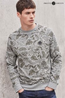 Grey Pretty Green Leaf Print Sweater