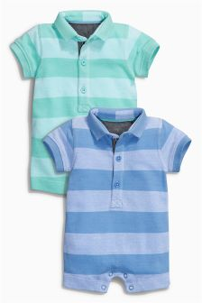 Navy Stripe Poloshirt Rompers Two Pack (0mths-2yrs)