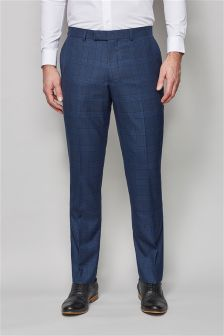 Blue Check Skinny Fit Suit: Trousers