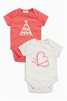 Coral/Ecru Print Bodysuits Two Pack (0mths-2yrs)
