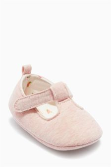 Pale Pink T-Bar Pram Shoes (Younger Girls)