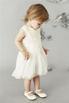Ecru Floral Lace Party Dress (3mths-6yrs)