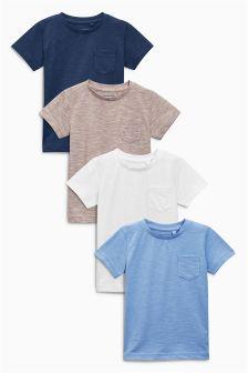 Blue Plain Short Sleeve T-Shirts Four Pack (3mths-6yrs)