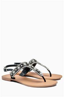 Monochrome Beaded Sandals