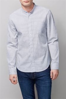 White Stripe Long Sleeve Grandad Shirt