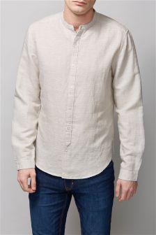 Stone Textured Long Sleeve Grandad Shirt