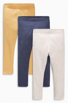 Navy/Ochre Leggings Three Pack (3mths-6yrs)