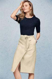 Neutral Linen Blend Herringbone Skirt