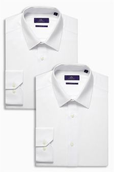 White Textured Shirts Two Pack