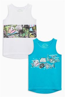 Turquoise/White Holla Vests Two Pack (3-16yrs)