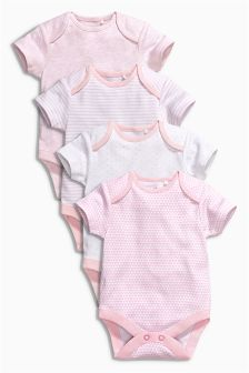 Pink Short Sleeve Bodysuits Four Pack (0mths-3yrs)