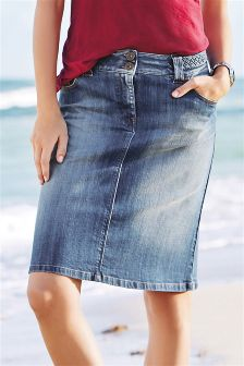 Denim Mid Blue Plaited Waist Denim Skirt