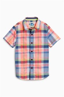 Orange Multi Short Sleeve Check Shirt (3mths-6yrs)