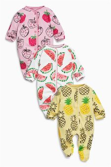 Bright Fruit Print Sleepsuits Three Pack (0mths-2yrs)