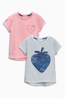 Navy Strawberry T-Shirts Two Pack (3mths-6yrs)