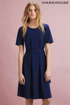 Navy Warehouse D Ring Compact Crepe Dress