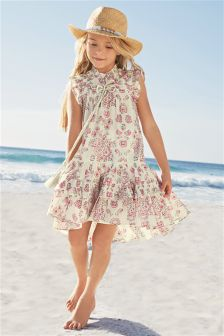 Pink/Cream Paisley Summer Dress (3-16yrs)