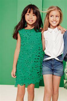 Green Cutwork Shift Dress (3-16yrs)
