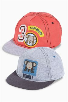 Multi Monkey Badge Cap Two Pack (Younger Boys)
