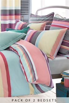 2 Pack Amalfi Stripe Bed Set