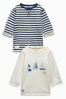 Ecru Boat Long Sleeve Tops Two Pack (3mths-6yrs)