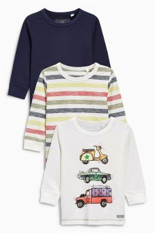 Ecru Car Print T-Shirts Three Pack (3mths-6yrs)