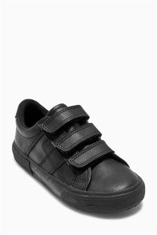 Black Triple Strap Shoes (Older Boys)