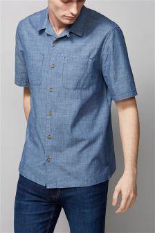 Blue Chambray Rever Short Sleeve Shirt