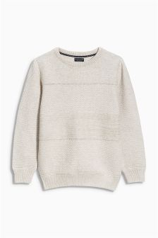 Ecru Textured Crew Neck Jumper (3-16yrs)