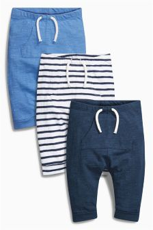 Navy/White Boat Joggers Three Pack (0mths-2yrs)