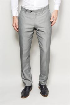 Light Grey Shawl Collar Slim Fit Suit: Trousers