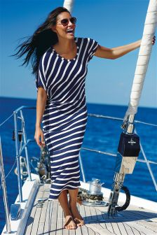 Navy/White Asymmetric Stripe Maxi Dress
