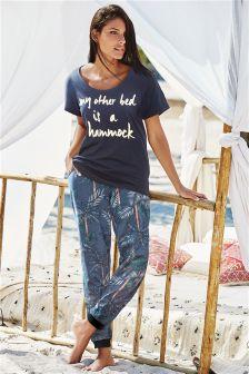 Blue Slogan Pyjamas
