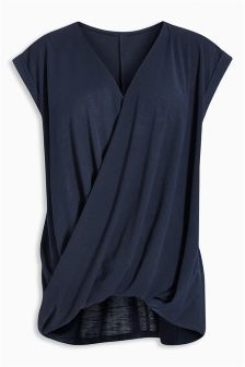 Navy Drape Nursing Top (Maternity)