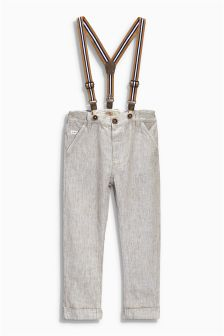 Neutral Linen Blend Brace Trousers (3mths-6yrs)