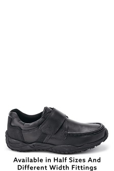 Black Sporty Single Strap Shoes (Older Boys)