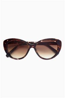 Brown Tortoiseshell Effect Cat Eye Sunglasses