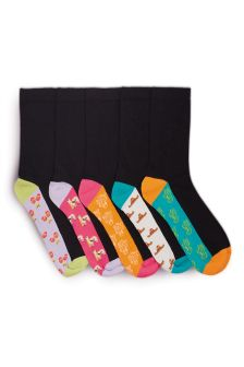 Black Mexican Footbed Ankle Socks Five Pack