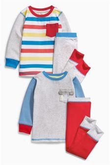 Multi Monkey Pocket Pyjamas Two Pack (9mths-8yrs)