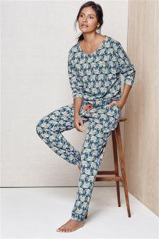 Navy Elephant Print Pyjamas