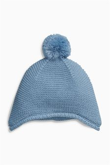 Blue Fine Knit Hat (0-18mths)