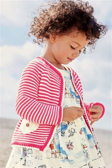 Raspberry Striped Cardigan (3mths-6yrs)