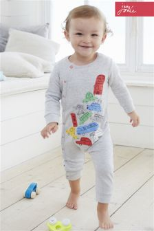 Joules Baby Grey Car Babygrow (0-18mths)