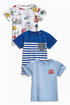 Blue City Print T-Shirts Three Pack (3mths-6yrs)