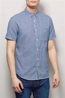 Blue Short Sleeve Textured Shirt
