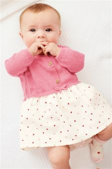 Pink Knit Print Dress (0mths-2yrs)