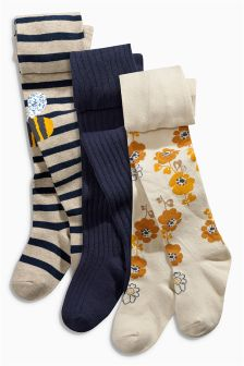 Navy Bees, Floral and Navy Tights Three Pack (0mths-6yrs)