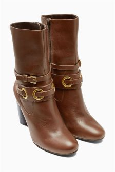 Tan Leather Eyelet Boots