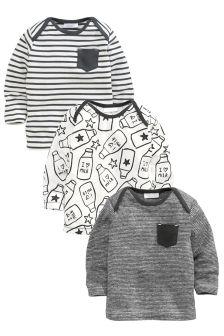 Grey 3 Pack T-Shirt (0-18mths)