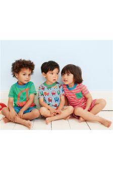 Multi Bubble Car Short Pyjamas Three Pack (9mths-8yrs)